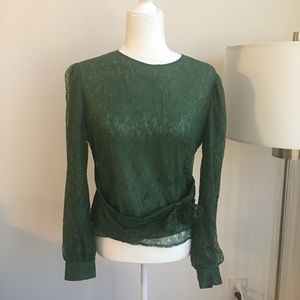 Red Valentino green lace blouse bow US2 romantic